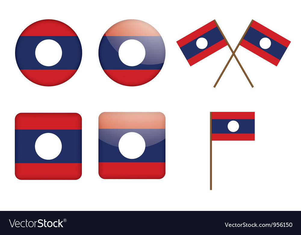 Badges with flag of Laos