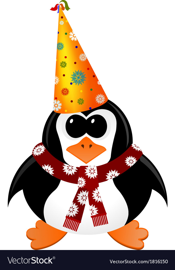 Cartoon penguin with Party Hat and scarf