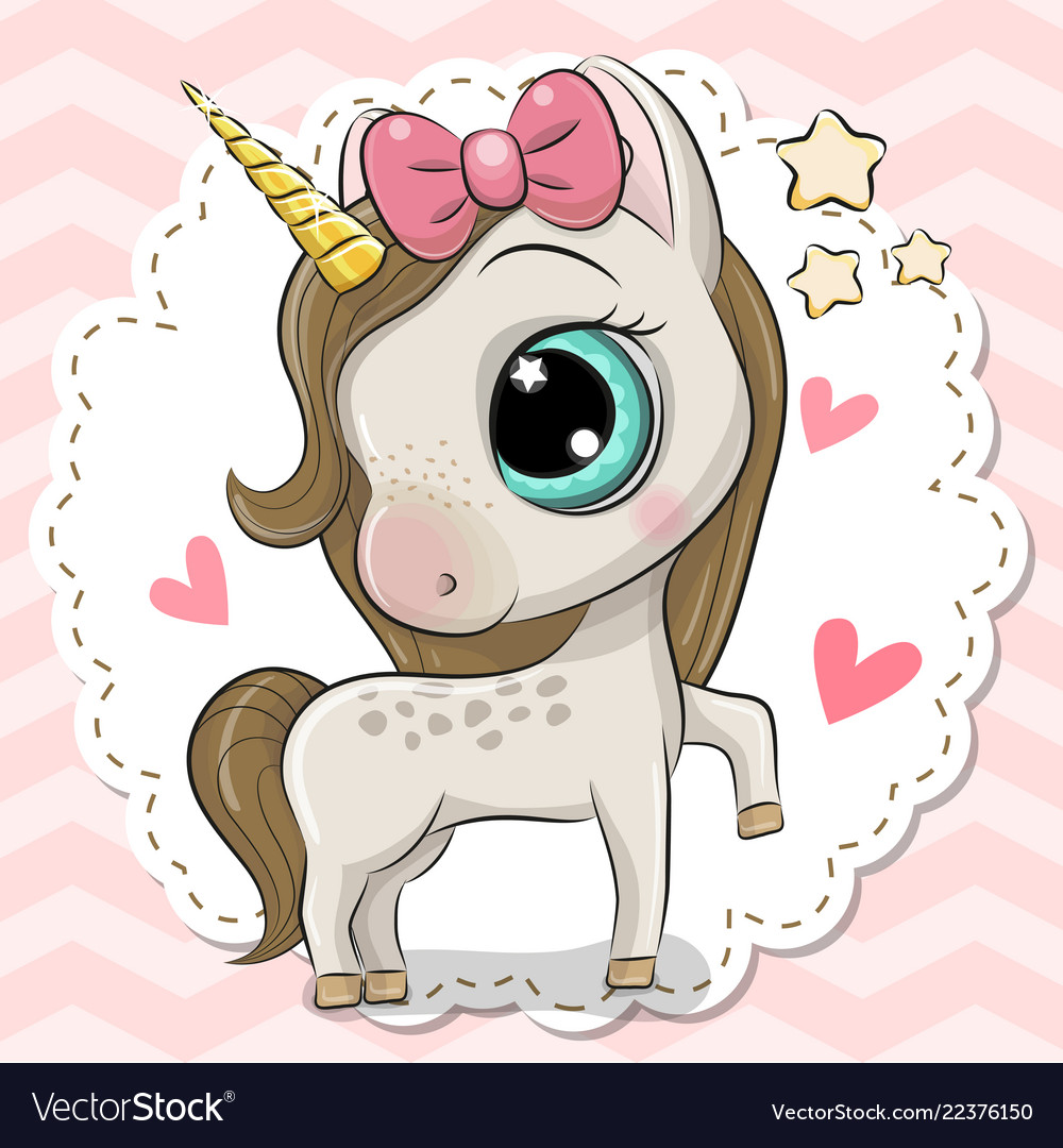 Cartoon Unicorn On A Pink Background Royalty Free Vector