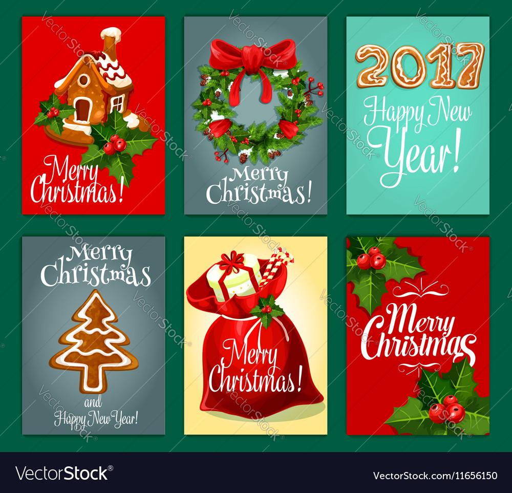 Christmas gifts greeting card set for Xmas design