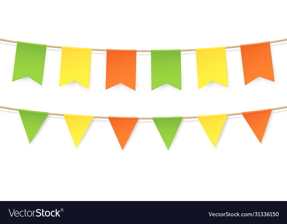 Colourful bunting in vintage flags garlands set