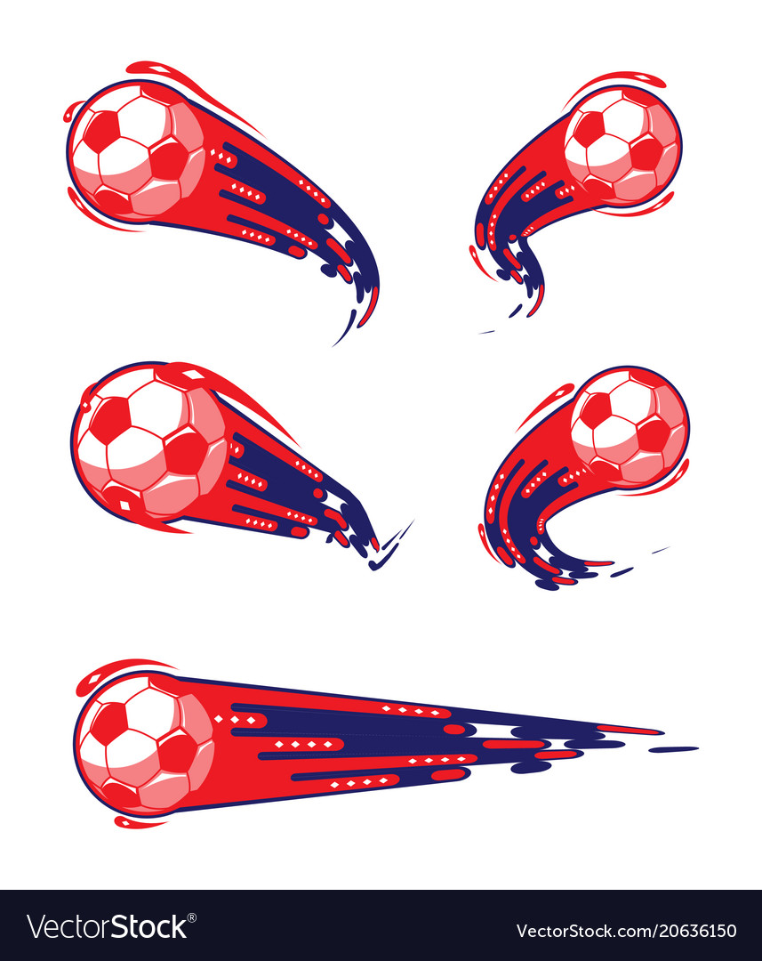 Football blue red and soccer symbols set vector image