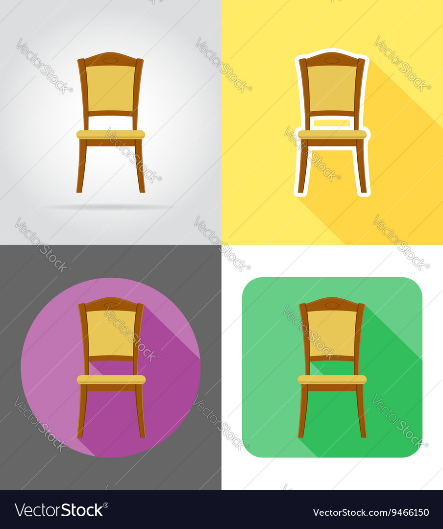 Furniture flat icons 07 vector image