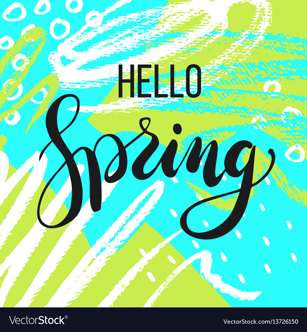 Hello spring lettering on hand drawn background