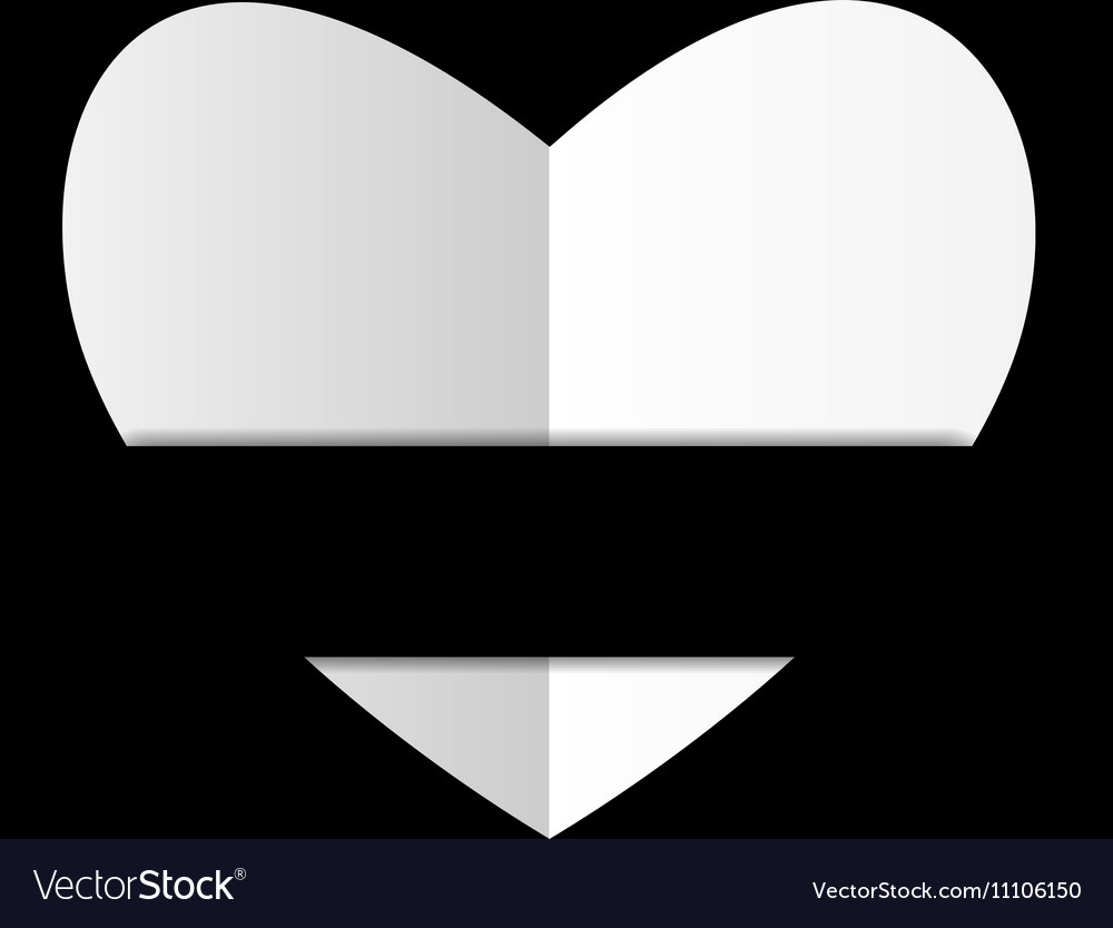 Paper white heart on black background