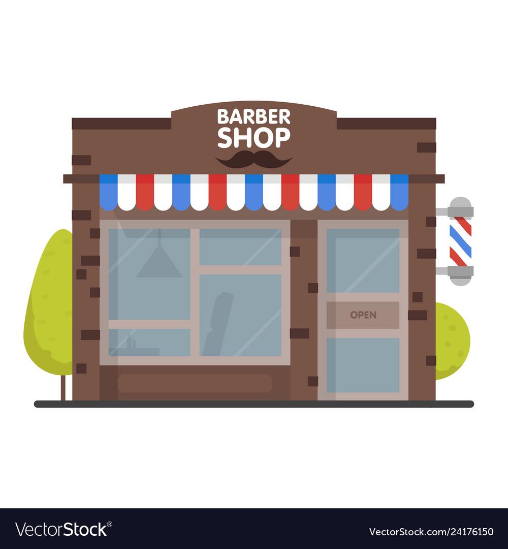 Street building facade barbershop front shop for