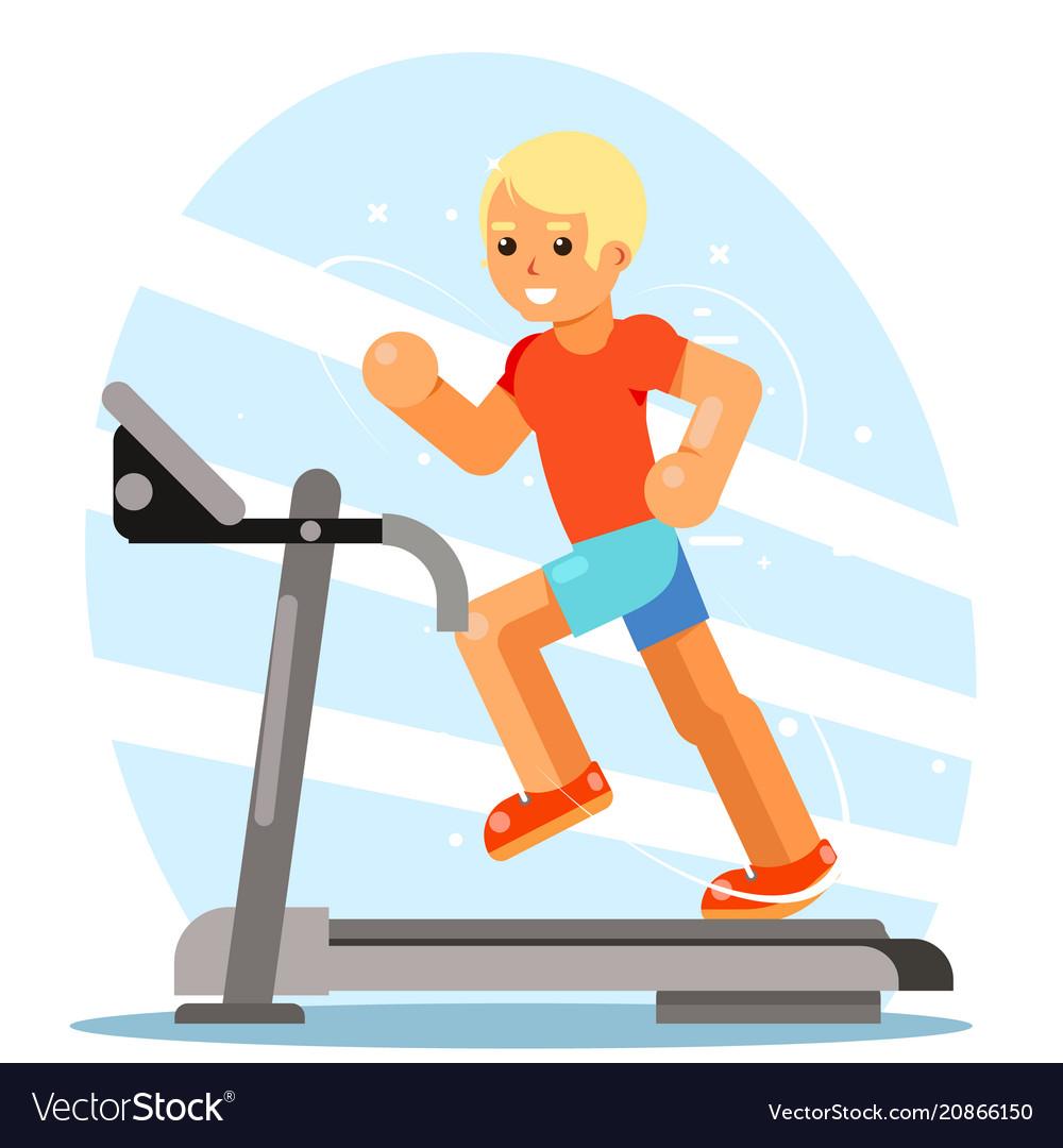 Strong man running treadmill simulator fitness