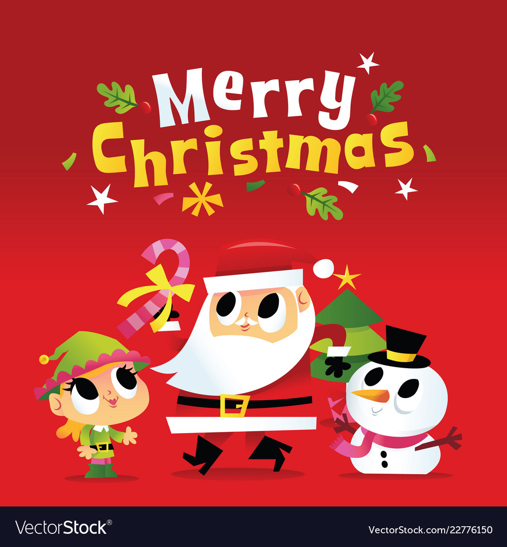 Super cute merry christmas santa and friends Vector Image