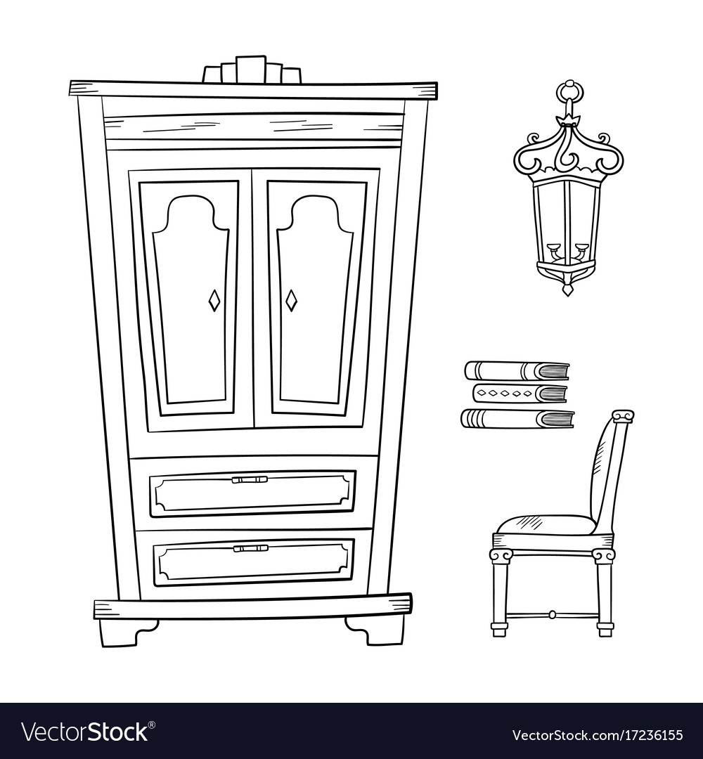 Antique furniture set - closet lamp book and