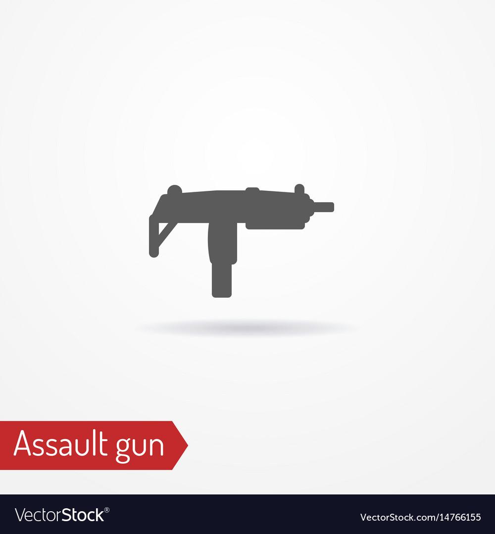 Compact submachine gun silhouette icon vector image