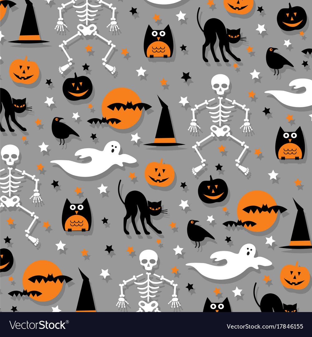 Halloween pattern orange gray