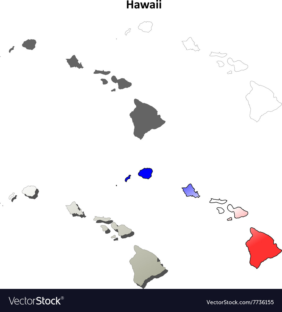 Hawaii outline map set vector image