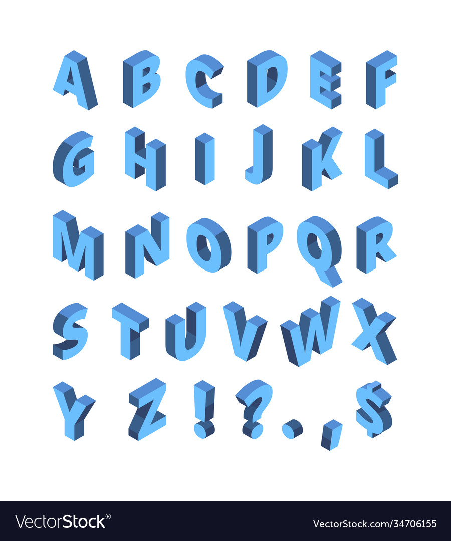 Isometric alphabet line colored letters