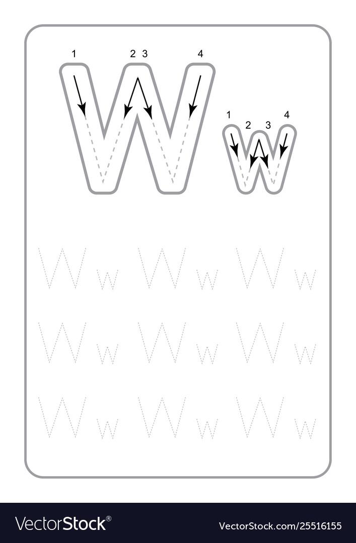 Kindergarten tracing letters worksheets monochrom