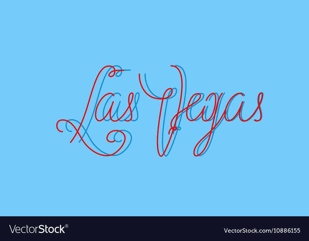 Las Vegas one line modern lettering with famous