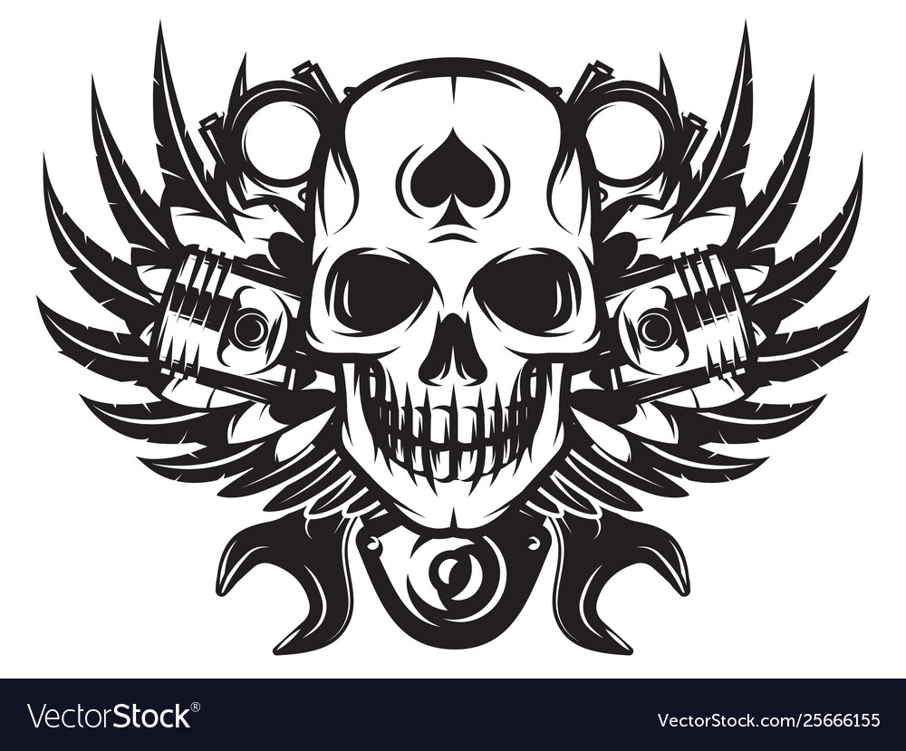 Monochrome image on motorcycle theme with skull