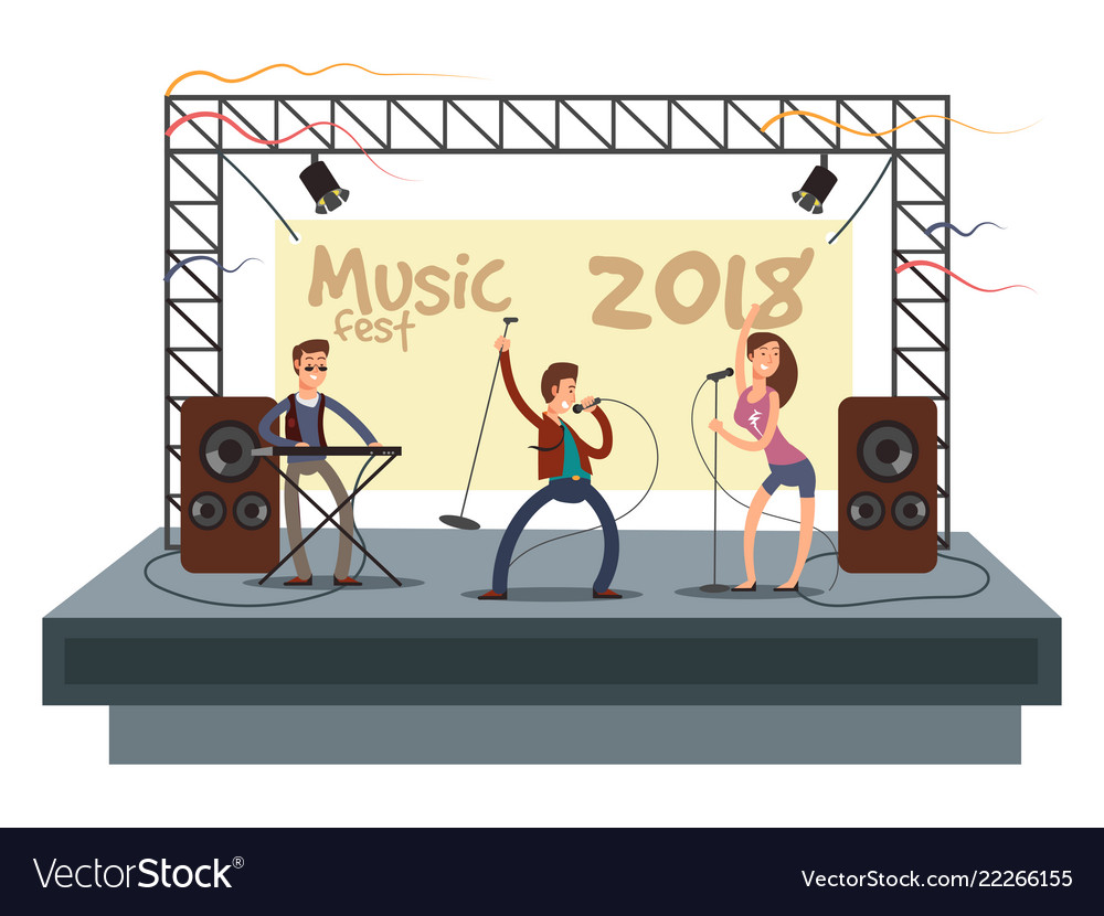Music festival concert with pop music band playing