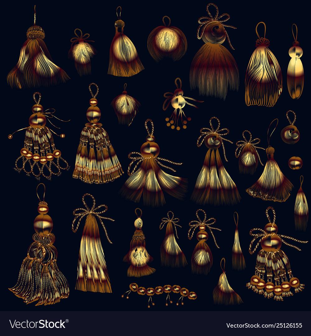 Set tassels in golden color for design