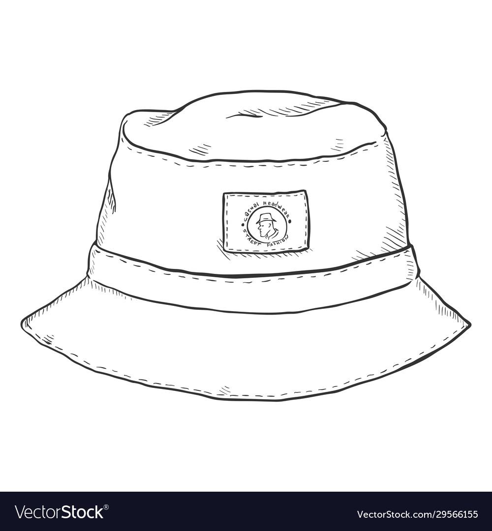 Single Sketch Bucket Hat Royalty Free Vector Image