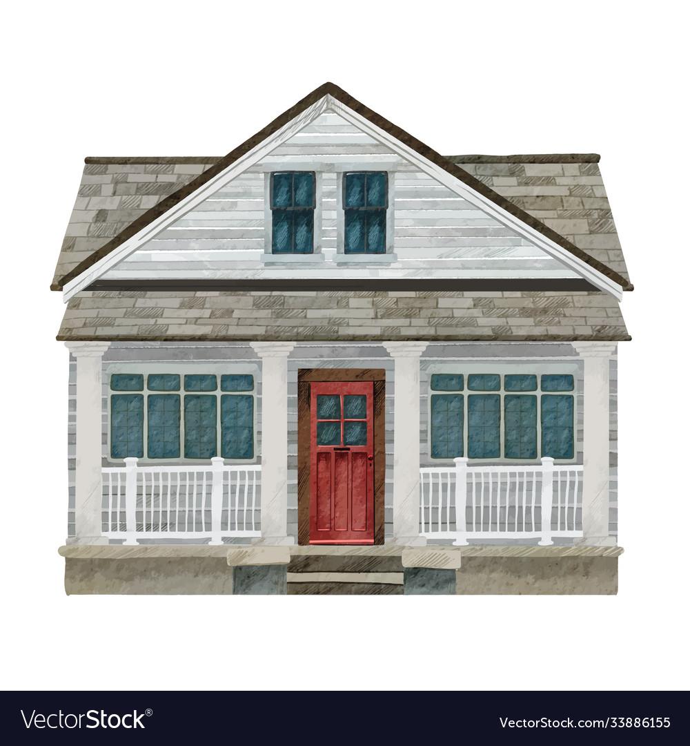 Watercolor portrait a cozy house or cottage