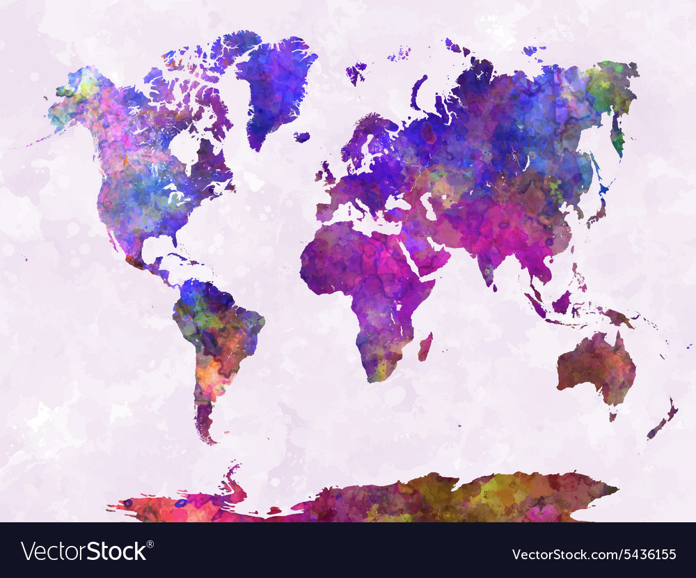 World map in watercolor warm purple royalty free vector world map in watercolor warm purple vector image gumiabroncs Choice Image