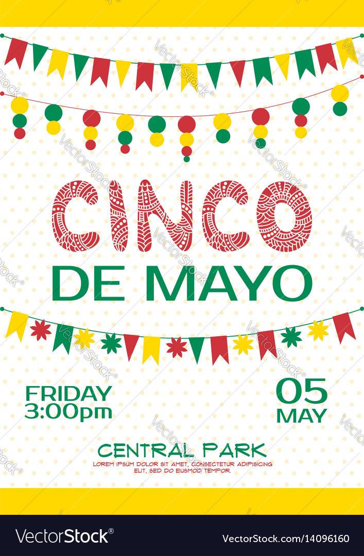 Cinco de mayo invitation poster mexican party vector image stopboris Images