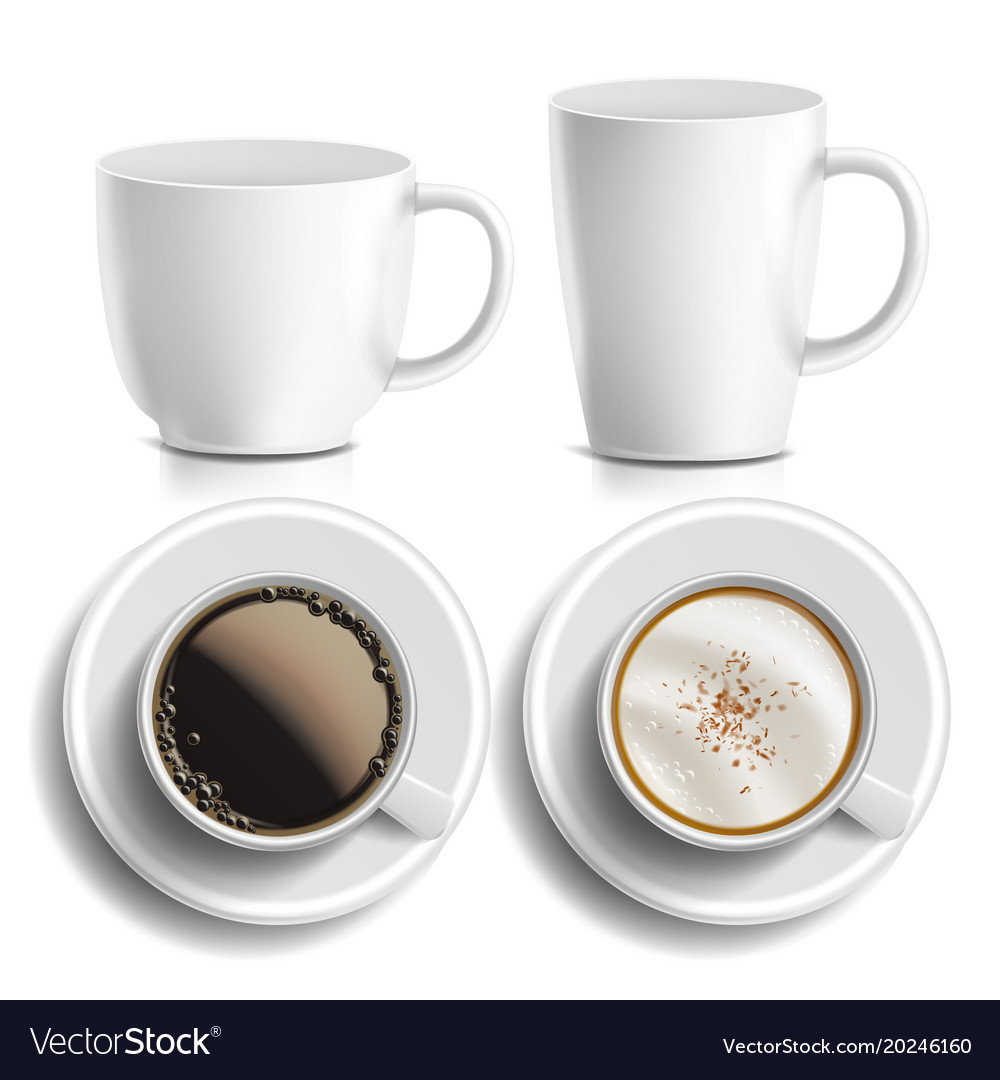 Coffee Cups Top Side View Diffe Vector Image