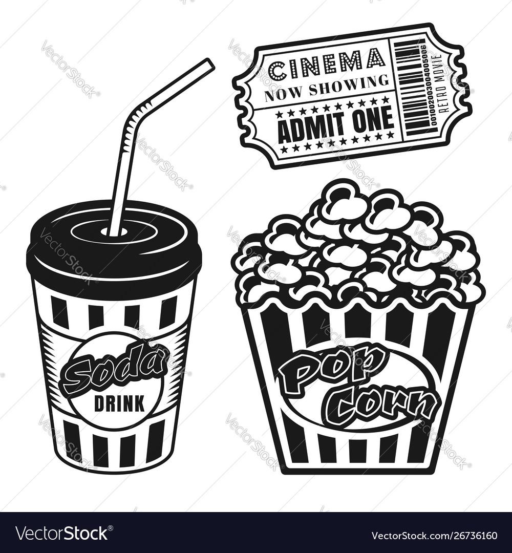 Cup soda popcorn cinema ticket objects