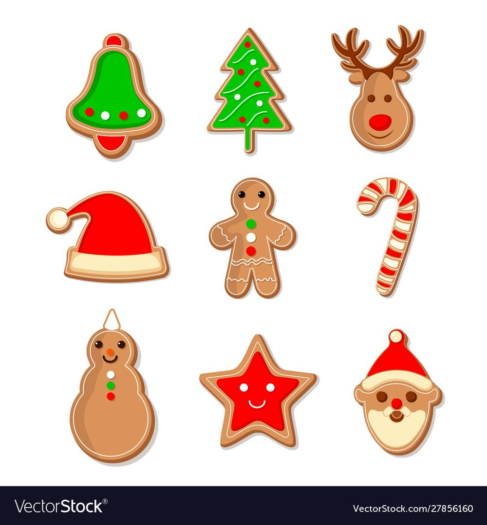 Cute set gingerbread christmas cookies