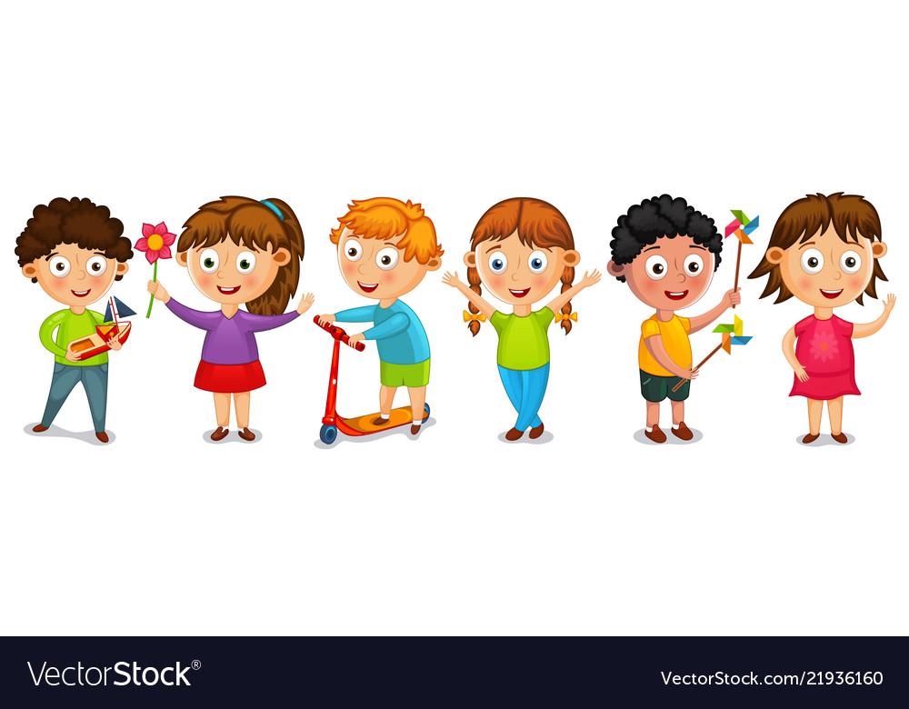 Fanny cartoon kids isolated