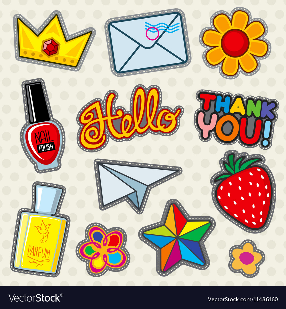 Fashion patches icons