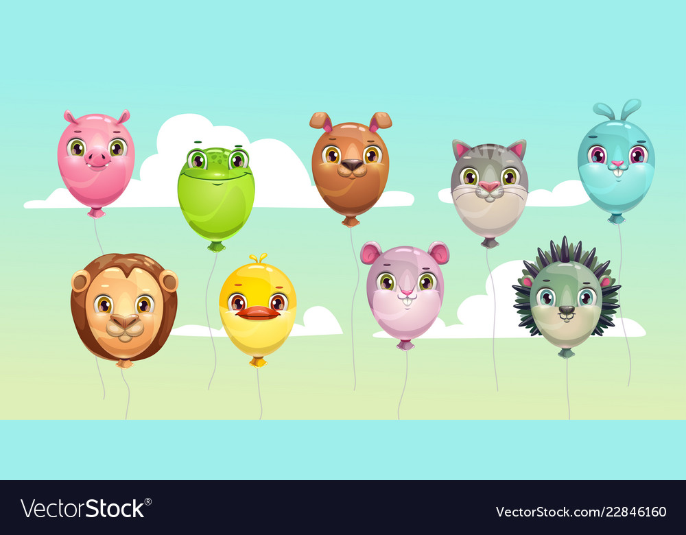 Funny colorful flying balloons with cute animal