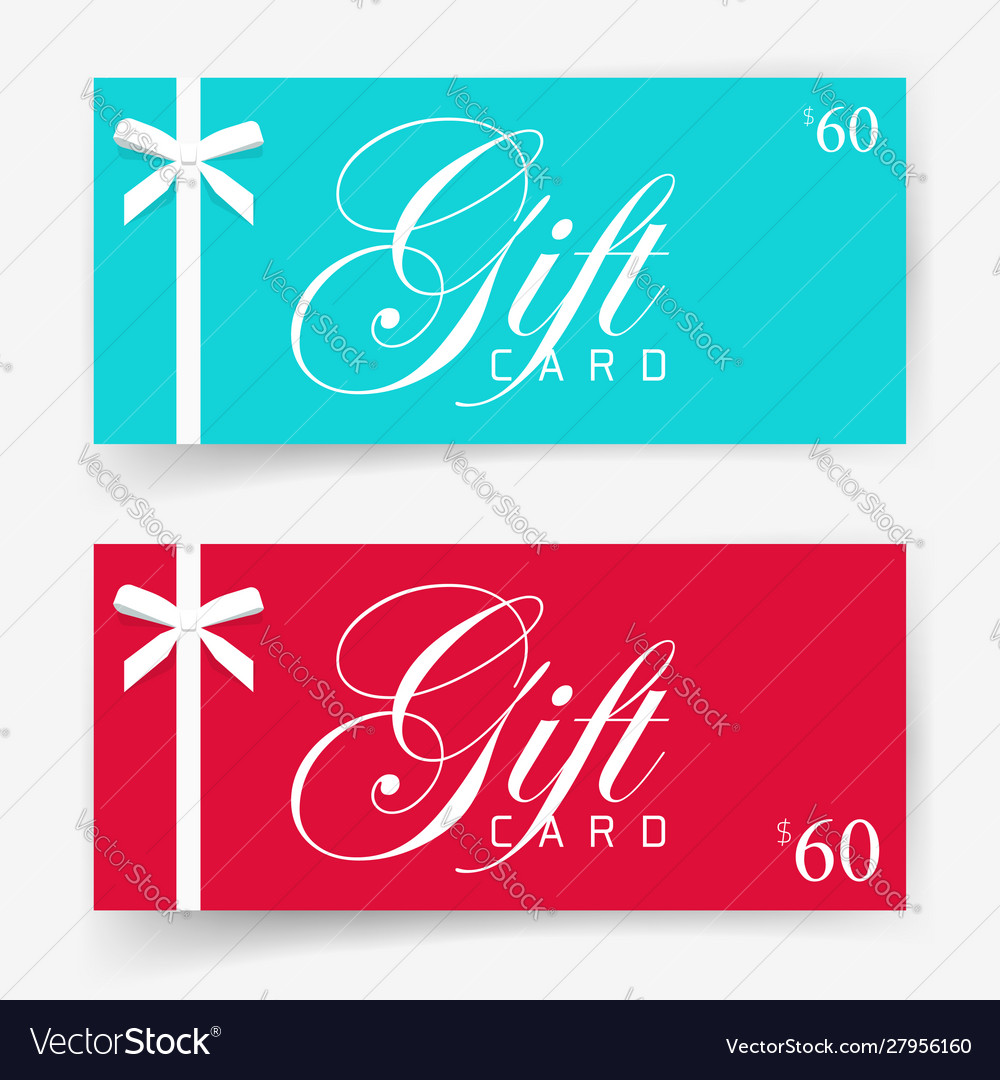 Gift card with thin white bow ribbon