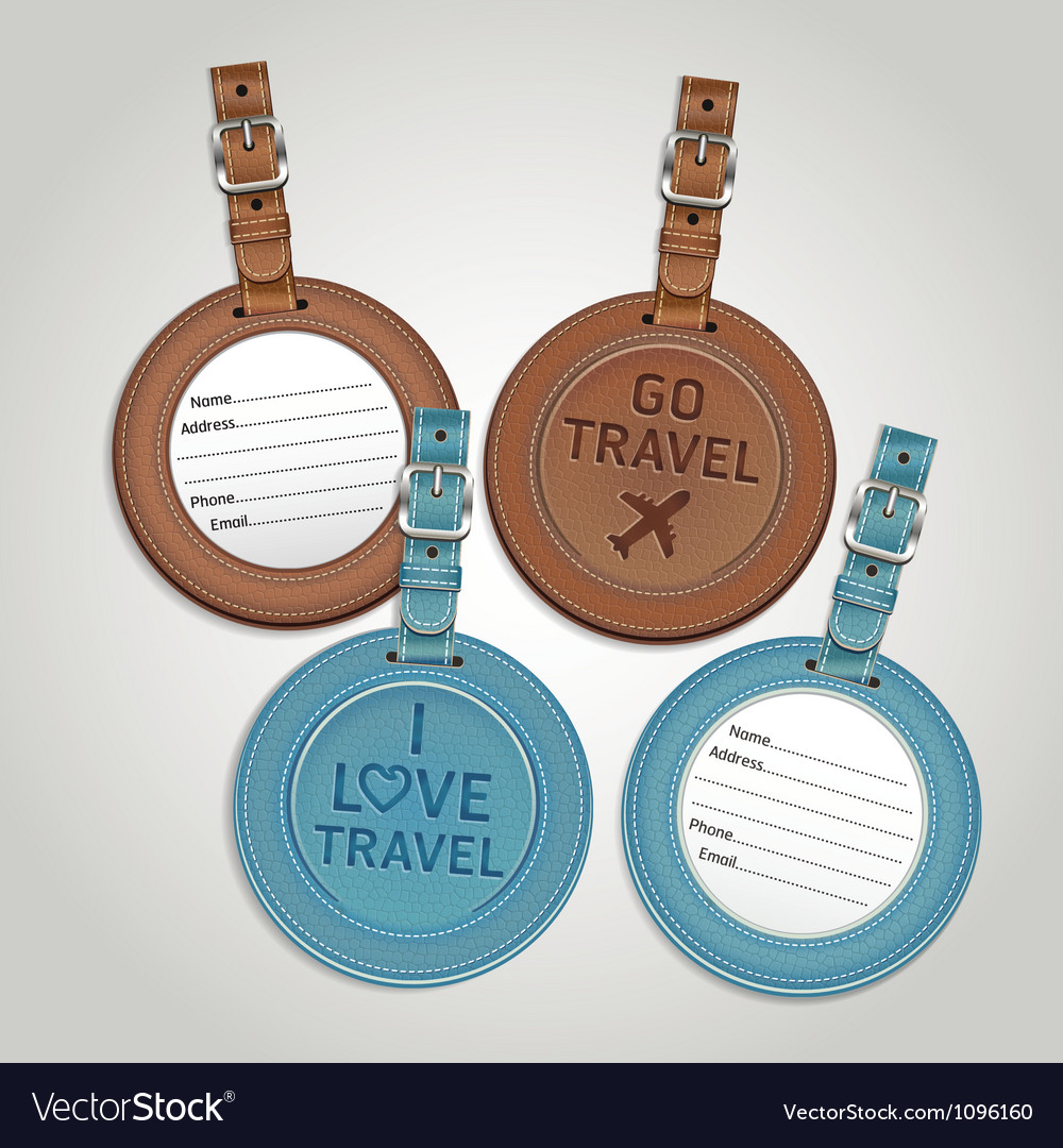 Leather luggage tags labels