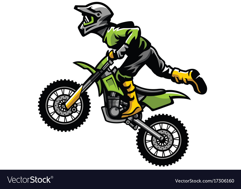 motocross rider doing stunt royalty free vector image