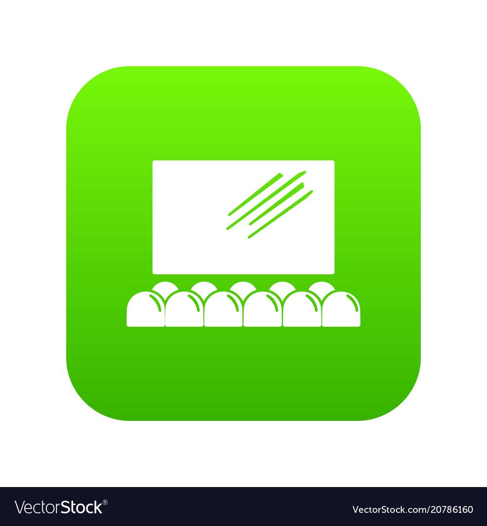 Movie Theater Screen Icon Green Royalty Free Vector Image