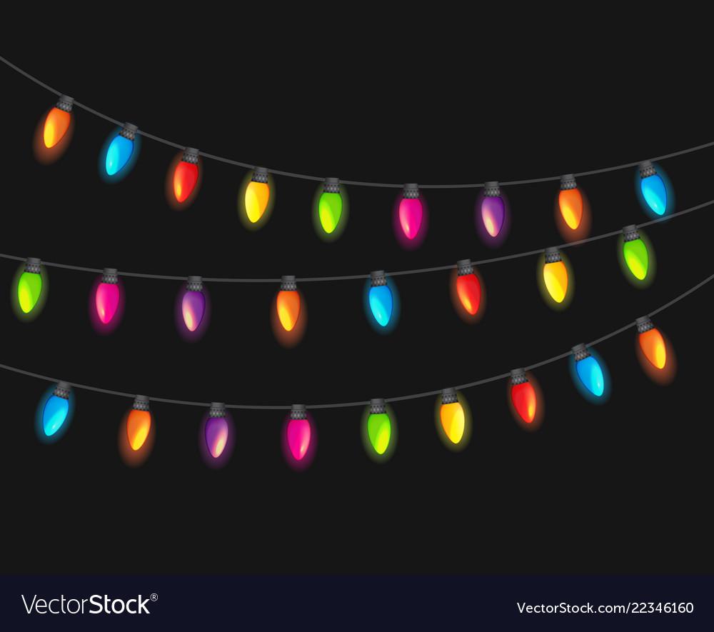 Multicolored garland lamp bulbs festive isolated