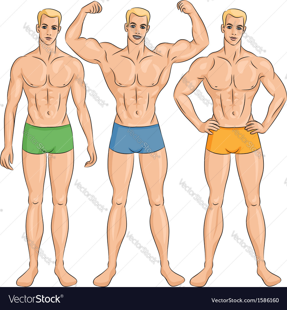 Set of young athletic guys in shorts