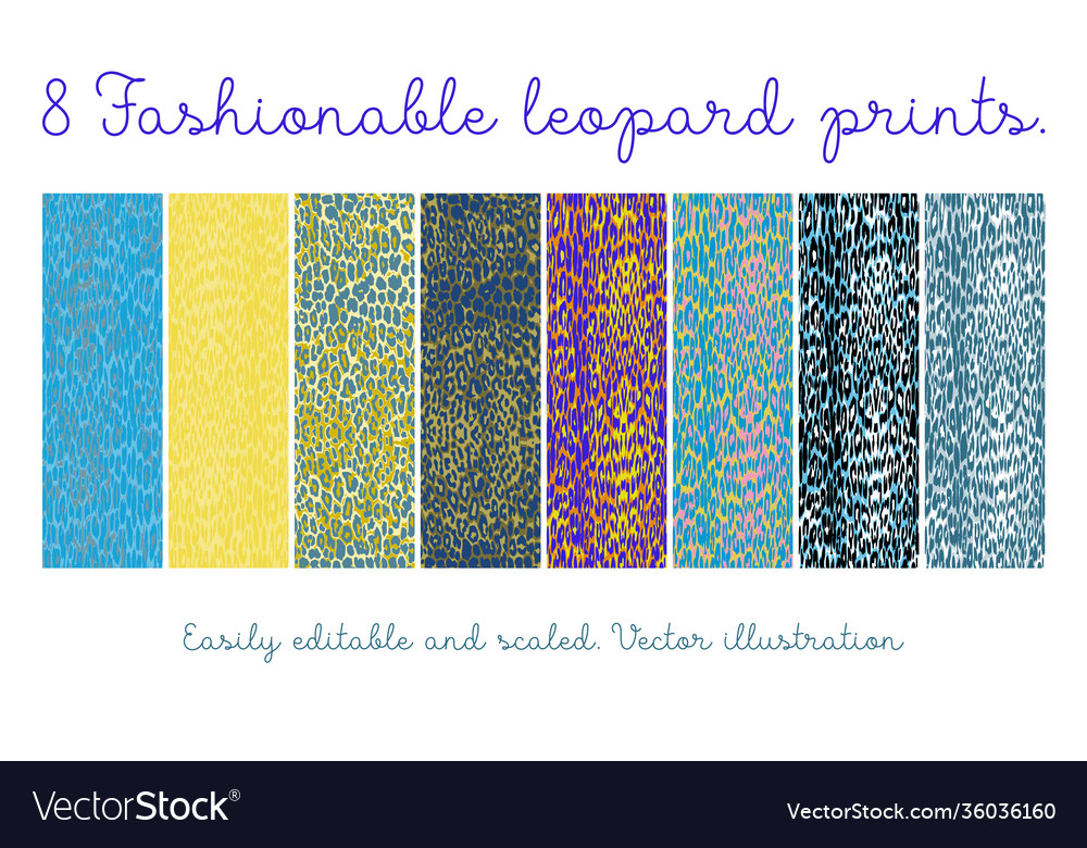 Set seamless leopard patterns