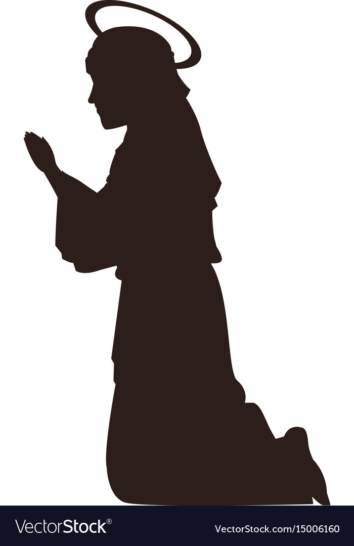 Silhouette virgin mary praying on knees