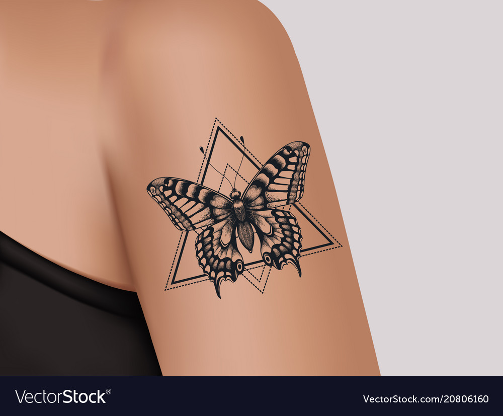 df9467375 Tattoo on female shoulder mystic butterfly tattoo Vector Image