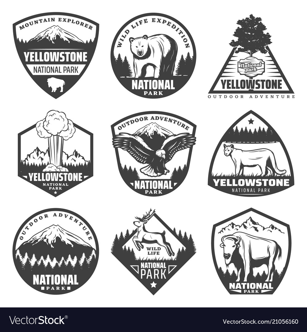 Vintage monochrome national park labels set