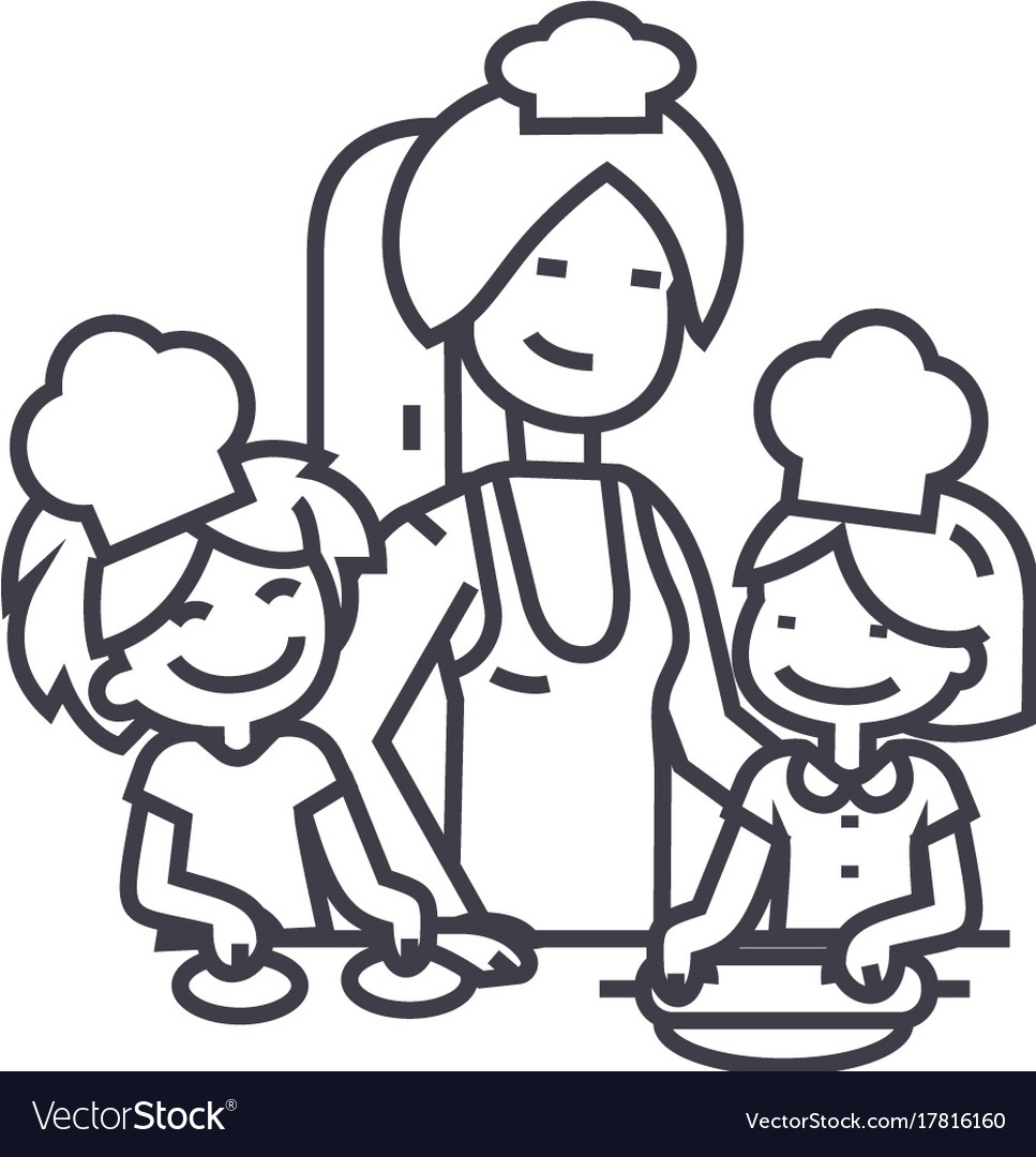 Woman cooking with kids line icon sign
