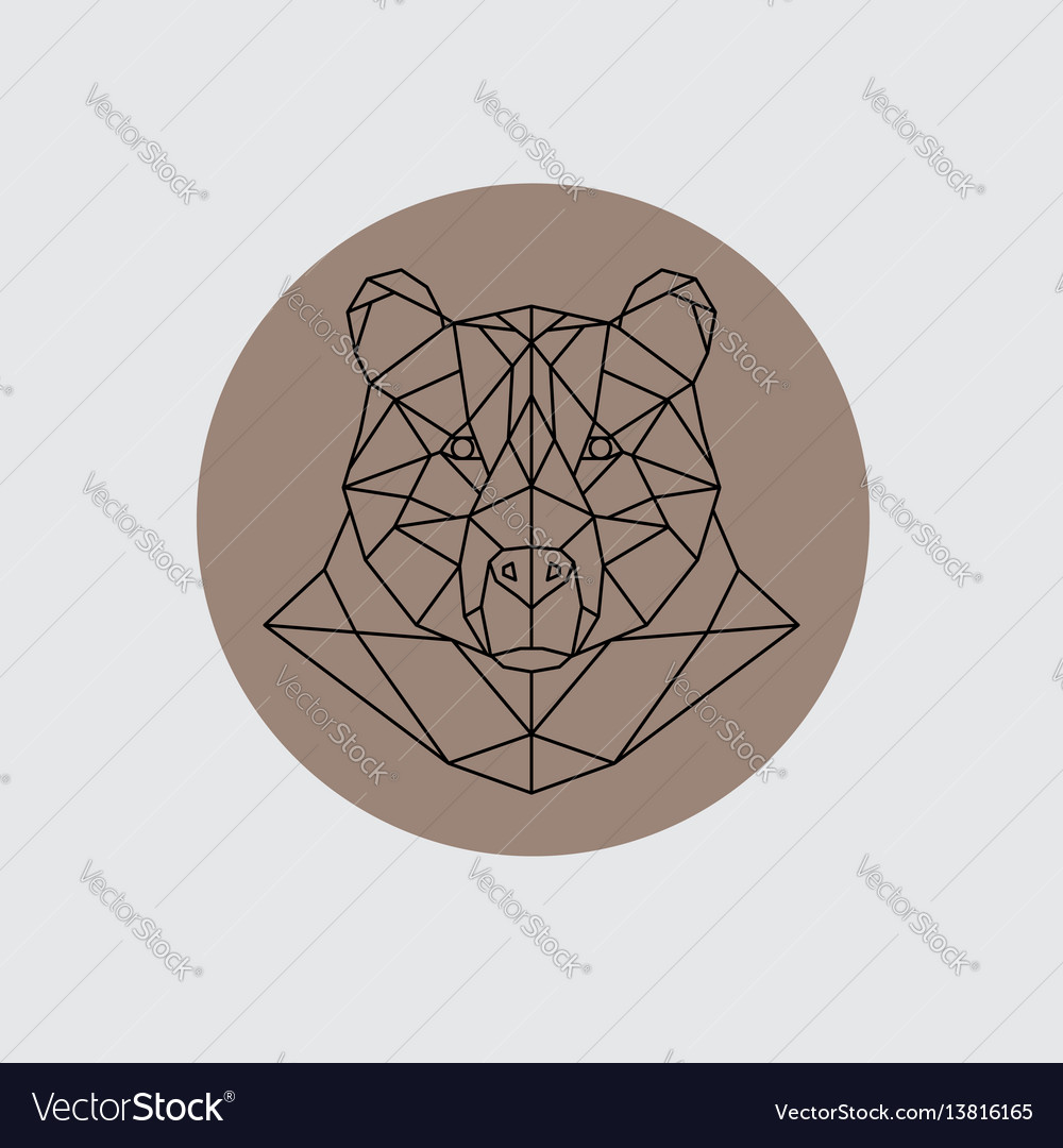 Bear head in polygonal style