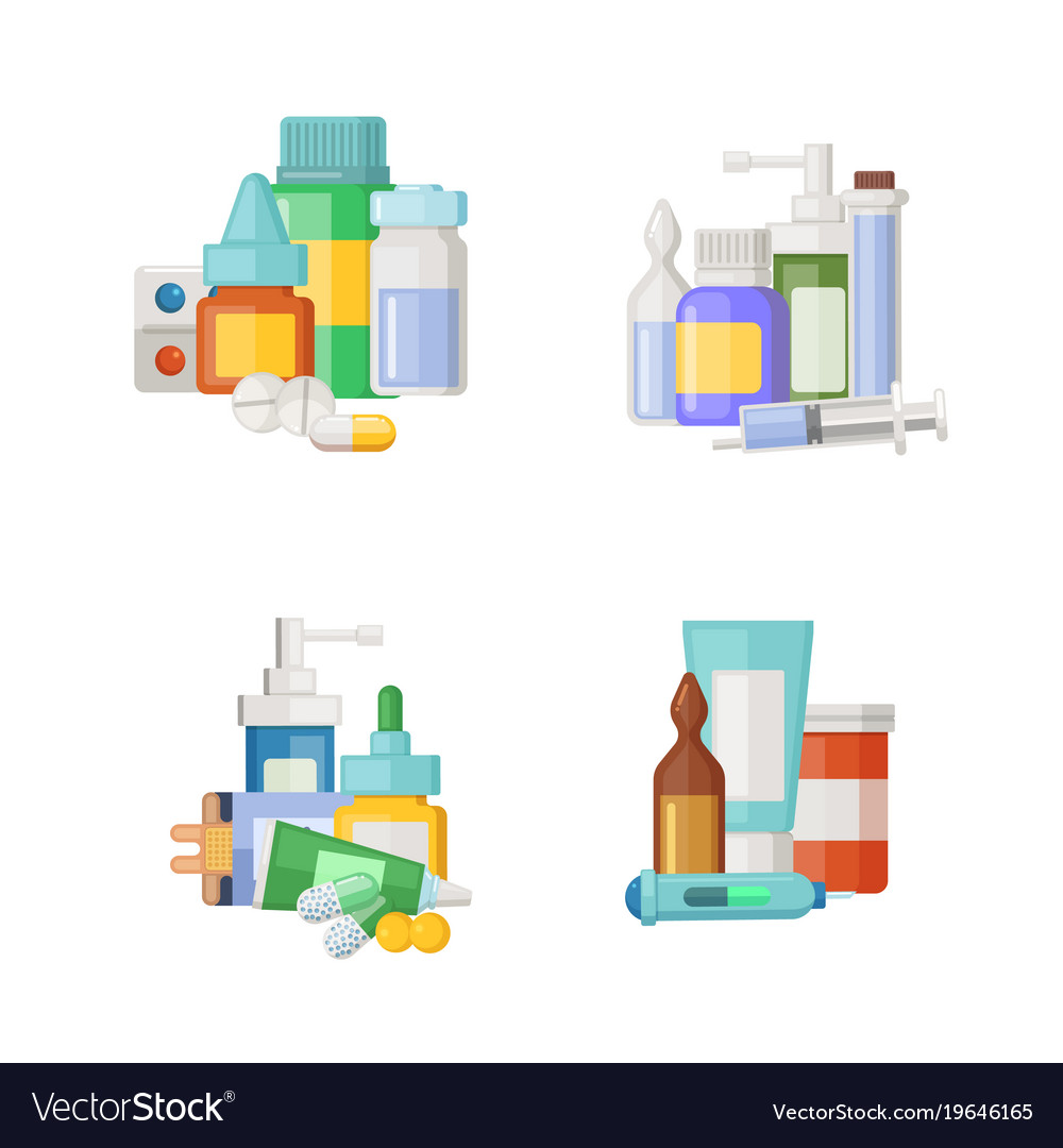 Cartoon medicines potions and pills piles
