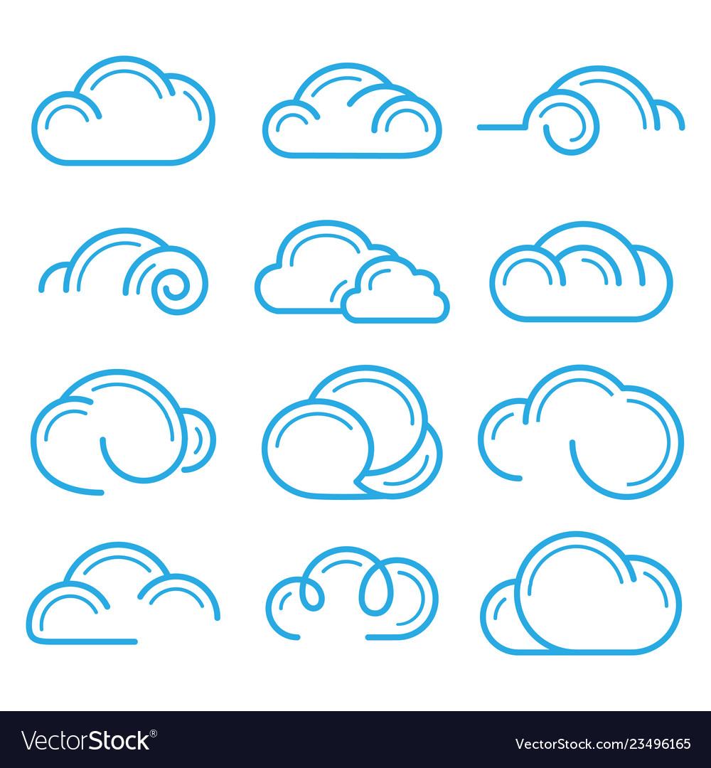Cloud logo symbol sign icon set design