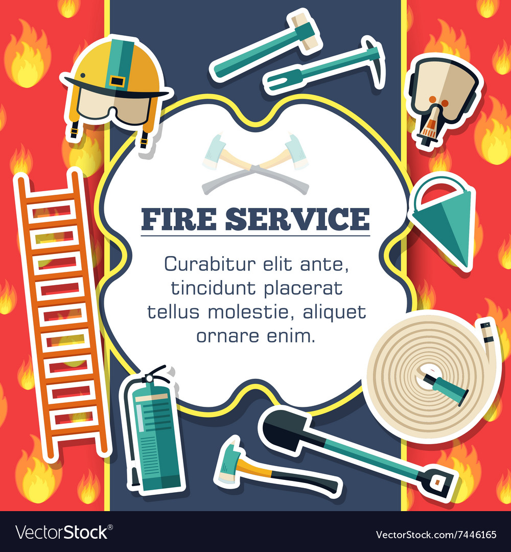 Firefighter equipment elements on red fire vector image