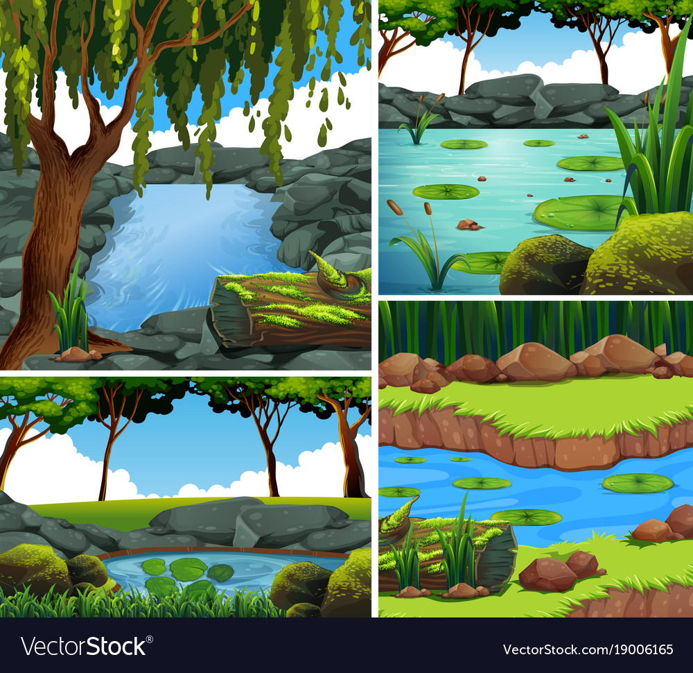 Four background scenes with river in forest