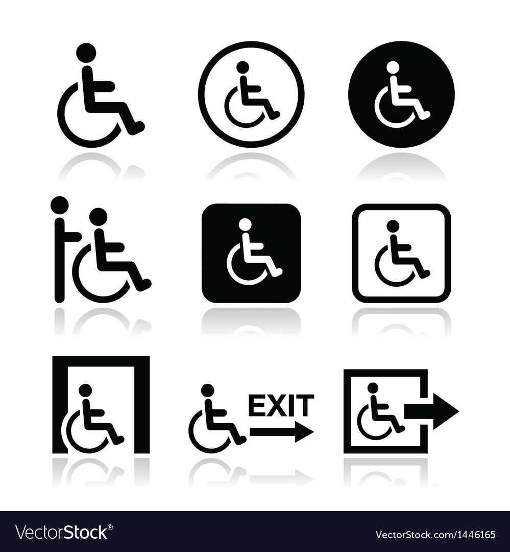 Man on wheelchair disabled emergency exit icon