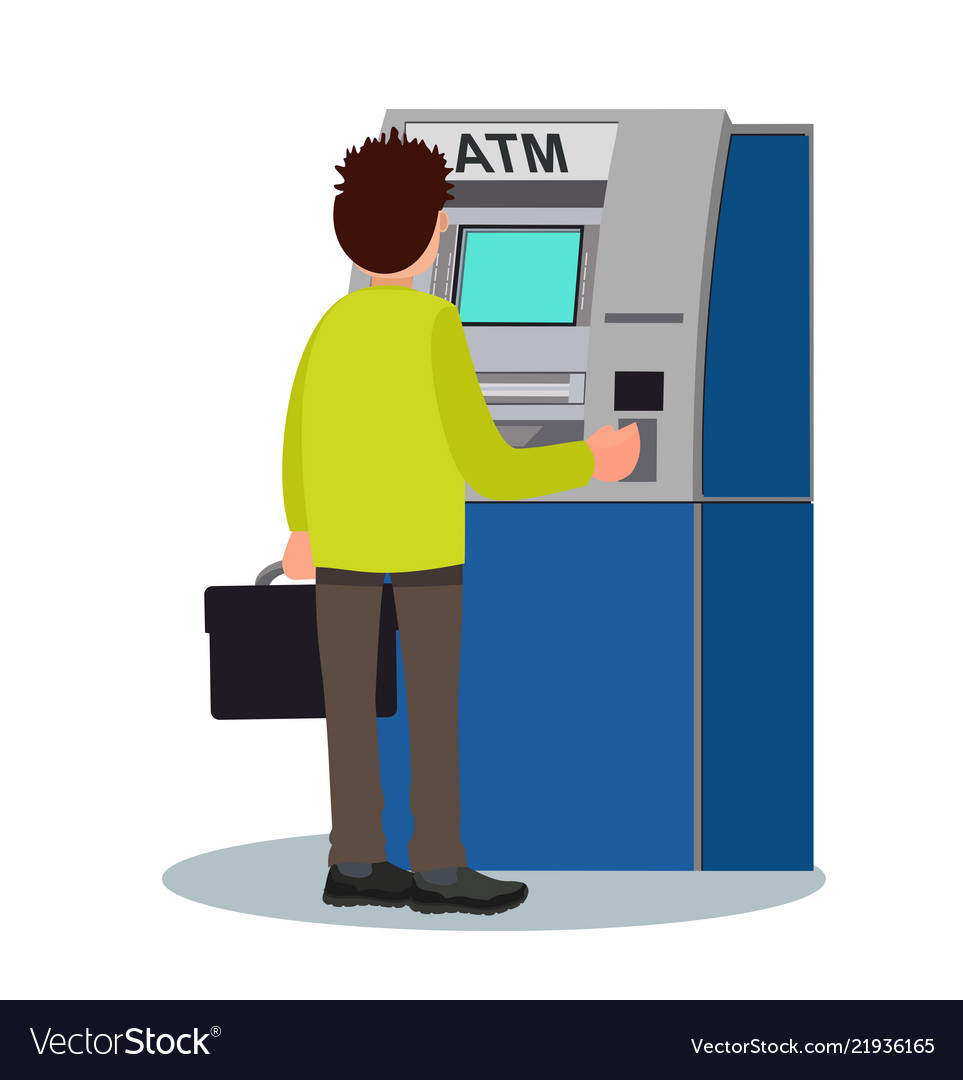 Man Withdraws Money From An Atm Royalty